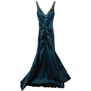 Xscape Mermaid Teal Sparkly Formal Gown Dress